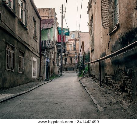 Slum Old Town Street With Ruined Shacks In Georgia Country