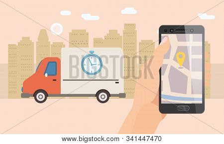Delivery Truck Service. Hand Hold Smartphone Application For Parcel Shipment Tracking Map. 24 7 Deli