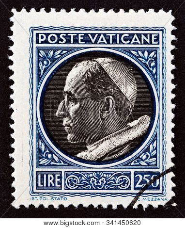 Vatican City - Circa 1945: A Stamp Printed In Vatican City Shows Pope Pius Xii, Circa 1945.