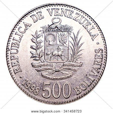 Venezuelan Coin Five Hundred Bolivar 1998 Release, Silver. Currency Devaluation. Concept For Design.