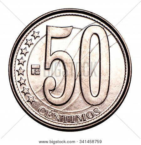 Venezuelan Coin Fifty Centimes, Silver. Currency Devaluation. Concept For Design. Isolated Backgroun