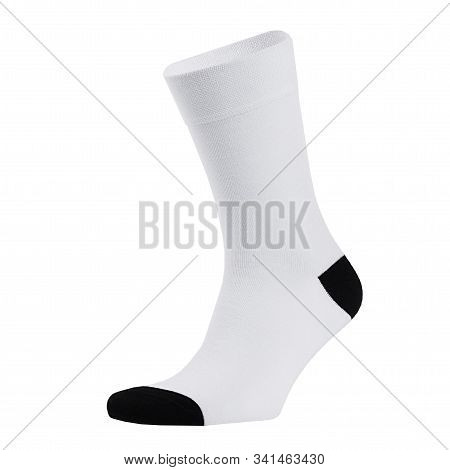 Blank White Cotton Long Sock With Black Heel On Invisible Foot Isolated On White Background As Mock