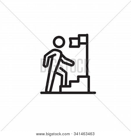 Businessman Running Up Stairway To Flag Thin Line Icon. Career, Challenge, Trouble Isolated Outline