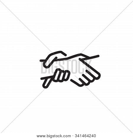 Hands Holding Each Other Thin Line Icon. Human Hands Holding Wrists Isolated Outline Sign. Mutual Un