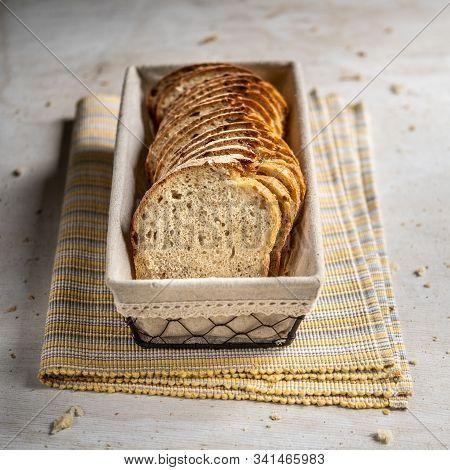 Sliced Spelt Sourdough Bread With Sunflower Seeds