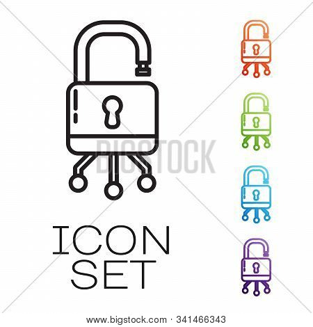 Black Line Cyber Security Icon Isolated On White Background. Closed Padlock On Digital Circuit Board