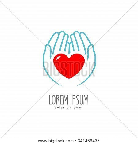 Heart In The Hands. Health, Charity Logo Or Label. Vector Illustration