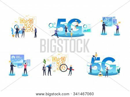 Set Of Workgroups Using 5g Network. Flat Vector Illustrations Of People Analyzing Graphs And Qr Code