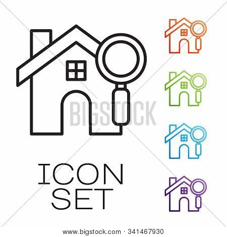 Black Line Search House Icon Isolated On White Background. Real Estate Symbol Of A House Under Magni