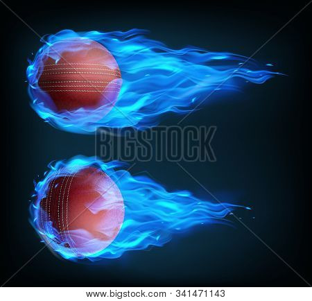 Flying Cricket Ball In Blue Fire Isolated On Black Background. Vector Realistic Stitched Leather Bal
