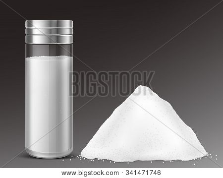 Glass Salt Shaker And Pile Of Sodium Chloride. Vector Realistic Full Salt Cellar And Heap Of White L
