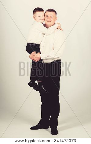 Tuxedo Style. Wedding Party. Happy Child With Father. Business Meeting. Small Boy With Dad Gentleman