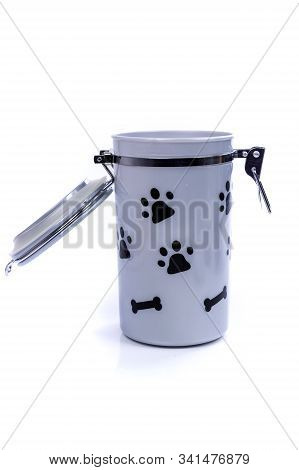 Grey Doggy Treat Container With Black Pawprints