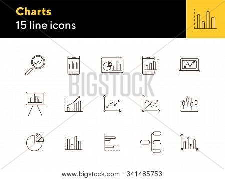 Charts Line Icon Set. Diagram, Presentation, Statistical Report Isolated Outline Sign Pack. Graph, A