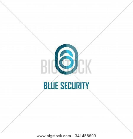 Blue Security Logo Design Template, Padlock Logo Concept, Data Protection, Rounded Shape, Vector Pro
