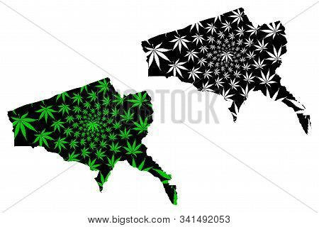 Tete Province (provinces Of Mozambique, Republic Of Mozambique) Map Is Designed Cannabis Leaf Green