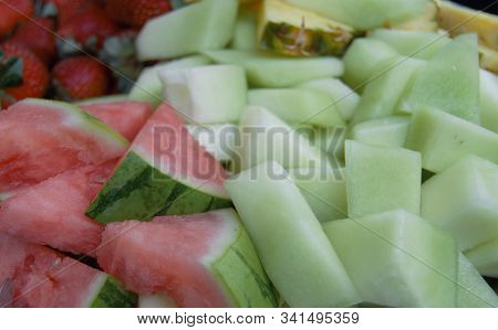 Fruit Tray With Watermelon Cantaloupe And Strawberries