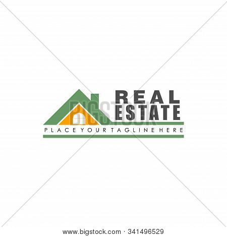 Real Estate Company Logo Design Template, House Top Logo Concept, Green, Orange, White, Roof Top, Ch