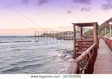 Boardwalk At Gonubie Beach In East London Eastern Cape, South Africa At Sunset. Beautiful Seascape B