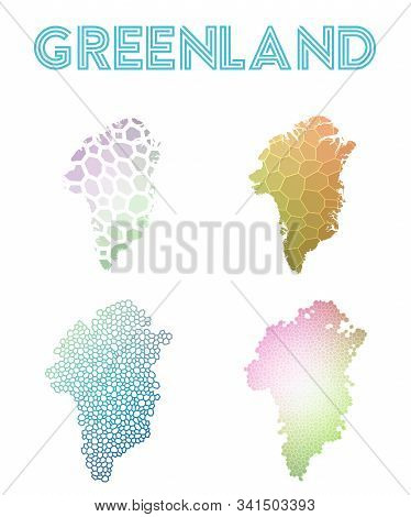 Greenland Geometric Polygonal, Mosaic Style Maps Collection. Modern Design For Your Infographics Or