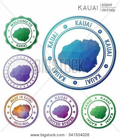 Kauai Badge. Colorful Polygonal Island Symbol. Multicolored Geometric Kauai Logos Set. Vector Illust