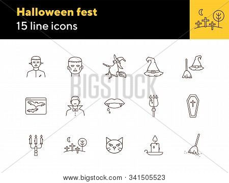 Halloween Fest Line Icons. Sconce, Bats On Screen, Witch On Broom. Halloween Concept. Vector Illustr