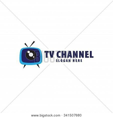 Tv Live Streaming, Online Television, Web Tv, Logo Concept, Without Play Button, Blue Background, Ey