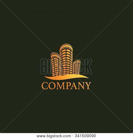 Futuristic Gold Building Real Estate Logo Design Template, Upmarket Logo Concept, Profesional Logo V