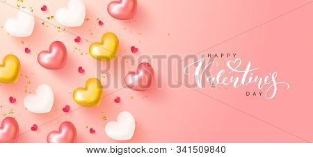 Happy Valentines Day Banner.romantic Composition With Hearts, Serpentine And Confetti. Vector Illust