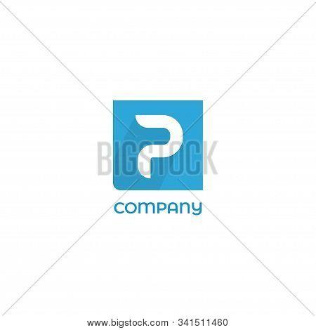 Letter P Alphabetic Logo Concept, Lettermark Design Template, Blue Square Background. Flat Design Wi