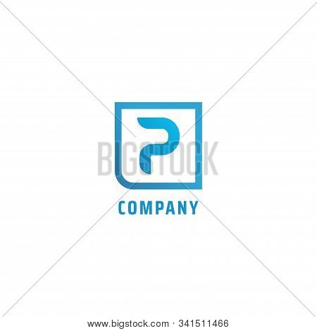 Letter P Alphabetic Logo Concept, Lettermark Design Template, Square Border, Flat Design, Simple And
