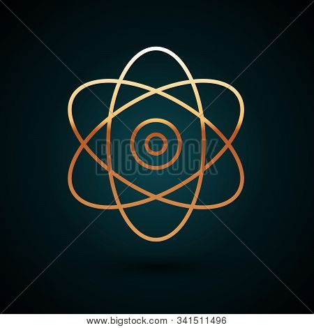 Gold Line Atom Icon Isolated On Dark Blue Background. Symbol Of Science, Education, Nuclear Physics,