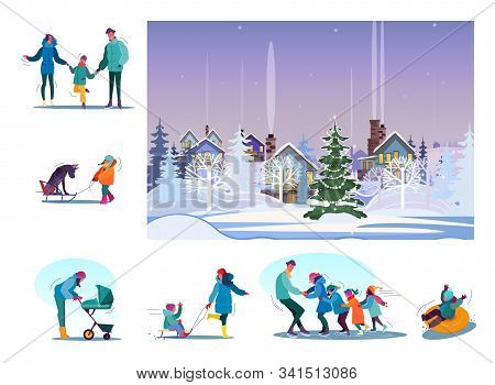 Set Of Happy Families Enjoying Snowy Winter. Flat Vector Illustrations Of People Skating, Riding Sle