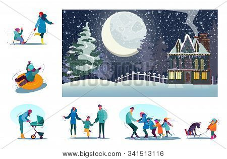 Set Of Happy Families Enjoying Winter At Rural Area. Flat Vector Illustrations Of People Skating, Sp