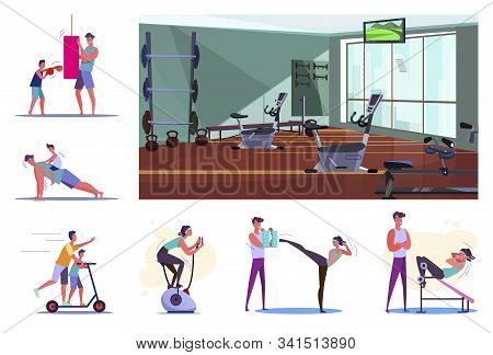 Set Of Sporty Young People Training. Flat Vector Illustrations Of Sportsmen Boxing, Doing Pushups, E