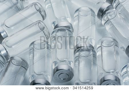 Glass Medical Ampoule Vial For Injection. Medicine Is Dry White Drug Penicillin Powder Or Liquid Wit