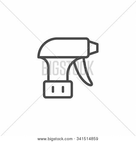 Pulverizer Equipment Line Outline Icon Isolated On White. Spray For Household. Tidy Object. Cleaner,