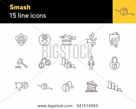 Smash Line Icon Set. Recession, Fail, Debt. Bankruptcy Concept. Can Be Used For Topics Like Crisis,