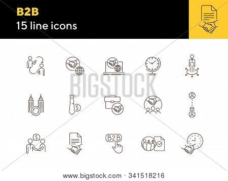 B2b Icons. Set Of Line Icons. Association, Business Partnership, Business Cooperation. Partnership C