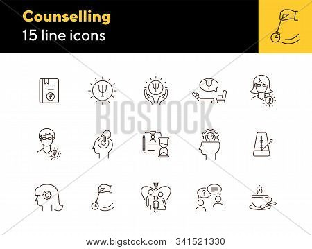 Counselling Line Icon Set. Psi Letter, Hypnosis, Cup Of Tea. Psychology Concept. Can Be Used For Top
