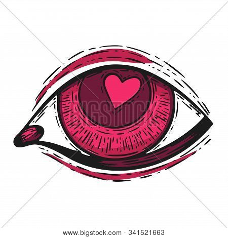 Handdrawn Etching Tatoo Eye With Love Heart Inside. Great Vector For Fabric And Print