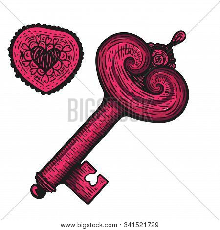 Handdrawn Etching Tatoo Vintage Key With Heart. Great Vector For Fabric And Print