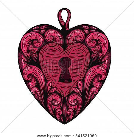 Handdrawn Etching Tatoo Vintage Heart. Great Vector For Fabric And Print