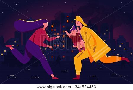 Vector Illustration Of Heroic Deed, The Hero Is Handing The Kid To The Parent