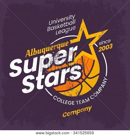 Basketball Logo For Clothing Or College Sport Varsity Emblem. Vintage Apparel For Albuquerque, New M