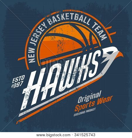 New Jersey Basketball Team Logo For Clothing Or Branding. Vintage Or Retro Sign For American Streetb