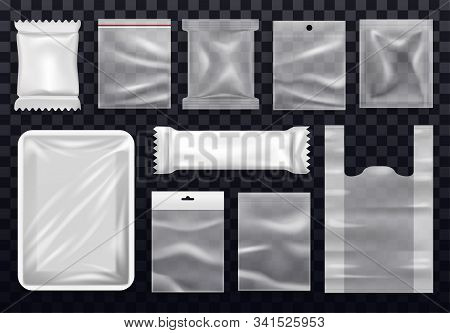 Vacuum Polythene Bag For Shopping And Zip, Realistic Food Package And Supermarket Packet, Sachet And
