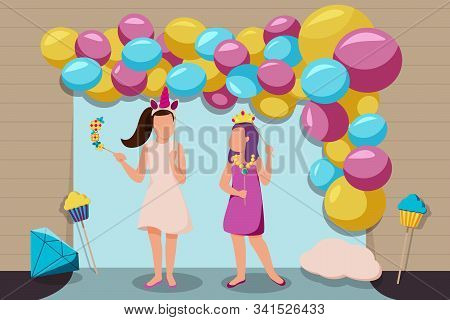 Photo Booth Party Background With Baloons And Dancing Flat Vector Illustration