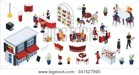 Restaurant Isometric Set With Elements Of Interior Staff And Visitors Waiting For Order Isolated Vec