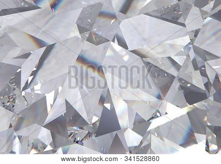 Layered Triangular Macro Diamond Shapes With A Small Diamond Over Them. 3d Rendering Model